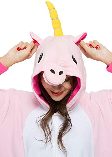 "Unisex Adult Pink Unicorn Onesies Pajamas Cosplay Costumes Halloween Animal Outfit Womens Mens X-Large Height 69""-74""(175cm-188cm) -"