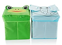 Bright kids toy storage bins x 2 | Toy storage boxes with lids | Fabric baby storage cubes | Soft foldable toy box fabric bin | Easy to store | By Sazmo eBaby