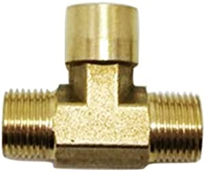 "Metalwork Brass Pipe T Fitting, Female Branch Tee, BSP Thread (1/4"" Male x 1/4"" Male x 1/4"" Female, Pack of 2)"