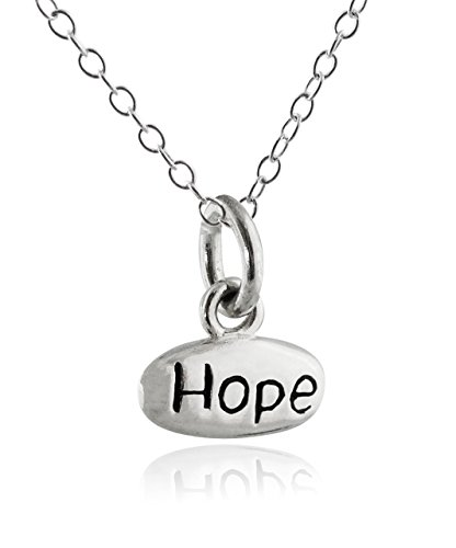 Sterling Silver Double Sided Engraved Love Hope Charm Pendant Necklace, 18