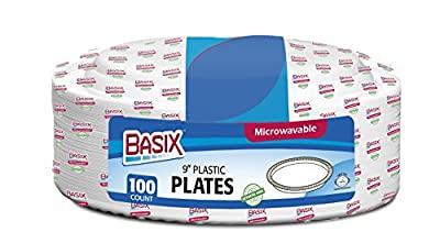 Basix 100 Count Disposable Plastic Plates Microwave Safe 9-Inch, White
