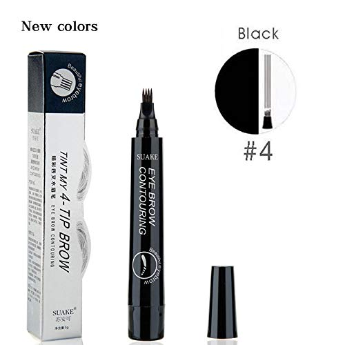 (Microblading Tattoo Eyebrow Pencils Waterproof Fork Tip Eyebrow Tattoo Pen 4 Head Fine Sketch Enhancer Korean Cosmetics Black)