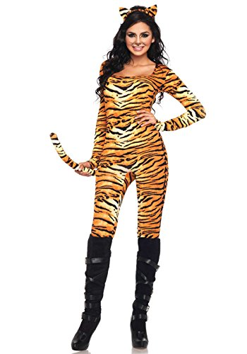 [Leg Avenue Women's 2 Piece Wild Tigress Catsuit Costume, Orange/Black, Medium/Large] (Sexy Cat Costumes For Women)