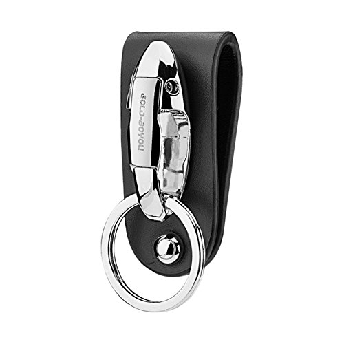 - BOYOU Key Chain, Stainless Steel Leather Belt Loop Keychain Carabiners with Special Detachable Keyrings Never Lost Your Keys in Cars (B1201)