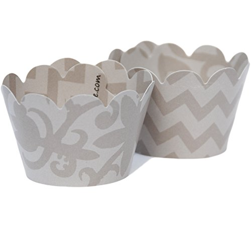 MINI Gray Cupcake Wrappers Grey Chevron Pattern, Modern Floral 24 Wraps, Confetti Couture Party Supplies