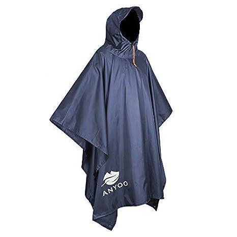 Anyoo Impermeabile Poncho Pioggia Riutilizzabile Multiuso Impermeabile  Impermeabile con Cappuccio Packable Telo Riparo a Terra Foglio 255361afa347