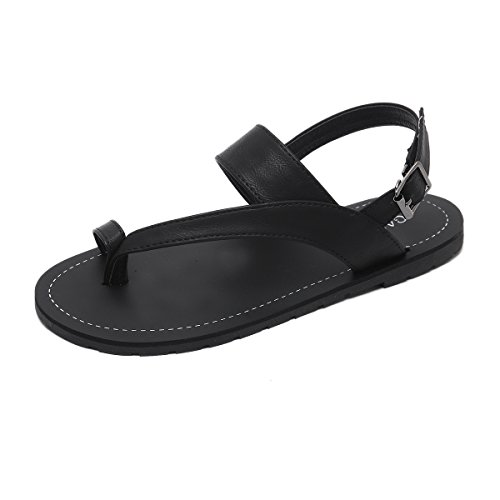 Appartamento Donna Clip Confortevole Black Estate Toe PU Sandali Artificiale LEIT OBxqwaa