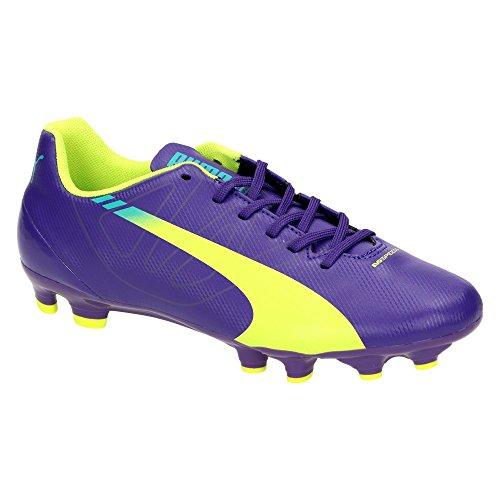 Puma evoSPEED 5.3 FG Jr. - Zapatillas de atletismo de Material Sintético para niño Negro prism violet-yellow-blue Negro - prism violet-yellow-blue