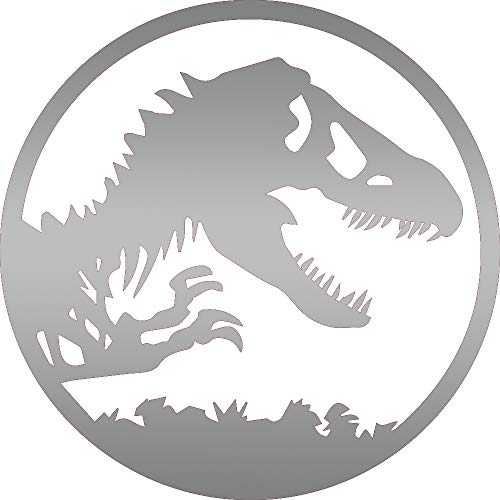 NBFU DECALS Logo Jurassic World (Metallic Silver) (Set of 2) Premium Waterproof Vinyl Decal Stickers for Laptop Phone Accessory Helmet CAR Window Bumper Mug Tuber Cup Door Wall Decoration
