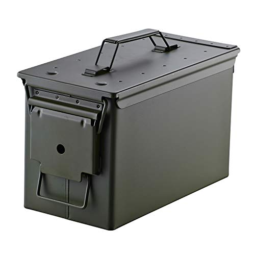 Metal Ammo Case Can – Military and Army Solid Steel 50 Cal Holder Box