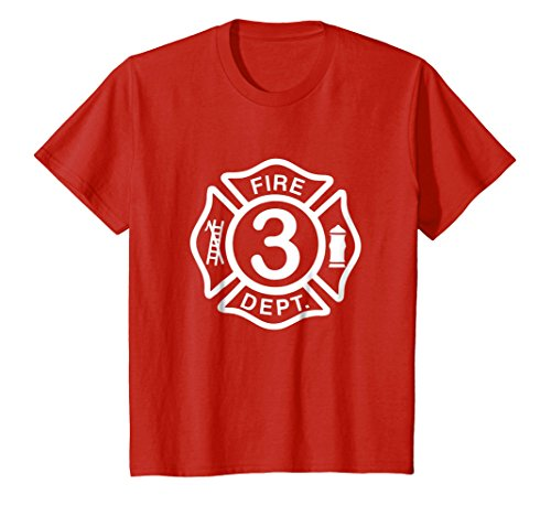 Tee Fireman Shirts (Kids Firefighter Birthday Shirt for 3 Year Old - 3rd Bday Fireman 4 Red)
