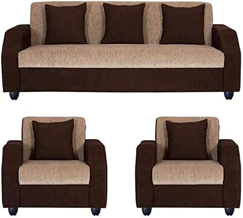 Casaliving   Classik 5 Seater Wood Sofa  3+1+1  Fabric Sofa Set  Beige   Brown