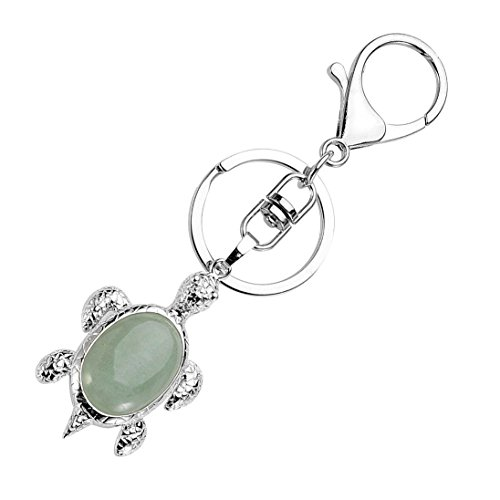 Top Plaza Reiki Chakra Healing Energy Crystal Tortoise Pendant Keychain Cute Sea Turtle Charm Bag Keyring For Family Friendship Lover(Green Aventurine)