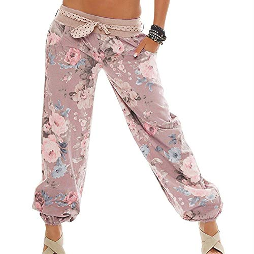 Haalife◕‿Women Baggy Boho Pants 100% Cotton Harem Pants Colorful Summer Hippie Yoga Boho Casual Fashion Women Pink