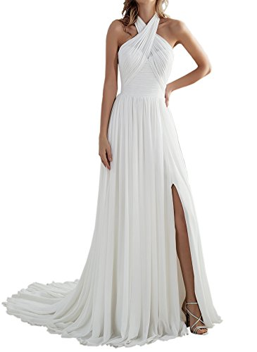 Women's Beach A Line Slit Low Back Long Chiffon Wedding Dress Bridal Gown for Bride Ivory Size 10 -