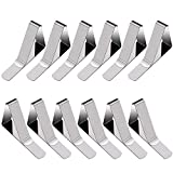 LINPOZONE Tablecloth Clips (12 Pack), Stainless Steel Table Cover Clamps for Picnic Tables