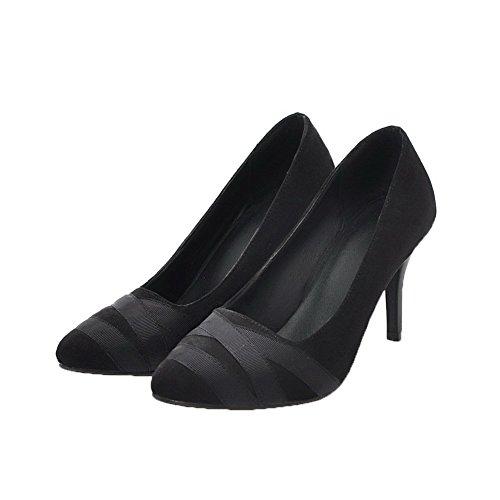 AllhqFashion Solid Velluto FBUIDD006704 Donna Alto Tirare Flats Tacco Nero Ballet rww4Xgq