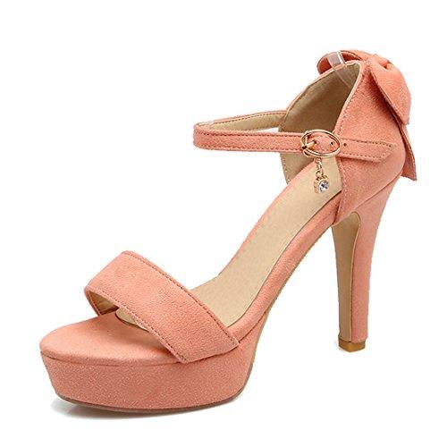 VECJUNIA Ladies Platform Chunky Heel Sandals Ankle Strap Shoes Pink