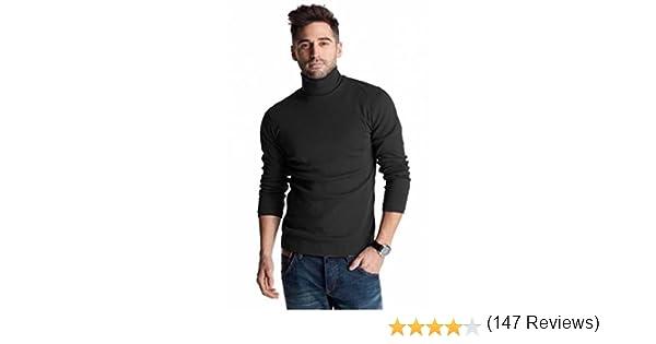 con cuello vuelto para hombre para invierno Polo negro de algod/ón pesado de 300/g//m/²