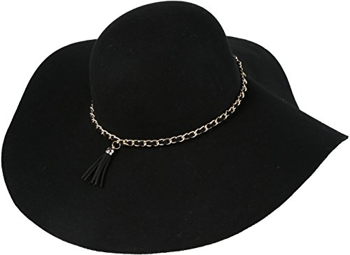 Sakkas 16154 - Liuliu Wide Vintage Style Floppy Hat Removable Interchangeable Bow Ribbon - Black - (Hippies Outfit)