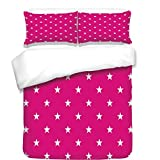 3Pcs Duvet Cover Set,Hot Pink,Symmetrical Pattern with White Stars Girlish Pattern Lovely Retro Party Tile,Hot Pink White,Best Bedding Gifts for Family/Friends