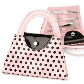 Pink, Polka Dot Purse 5 Piece Manicure Set - Pink (Manicure Purse)
