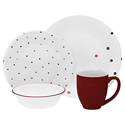 Corelle Vive 16 Piece Glass Polka Dottie Dinnerware Set, White - Dishwasher, refrigerator, microwave & pre-heated oven safe Patterns won't wash, wear or scratch off Mugs are made of a durable stoneware material - kitchen-tabletop, kitchen-dining-room, dinnerware-sets - 41RJpGXybEL. SS400  -