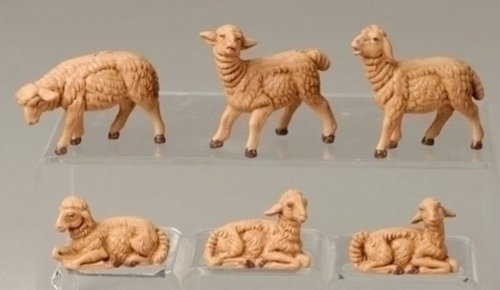 Roman Fontanini 6 Piece Sheep Figurines, 3.5 Inch Scale
