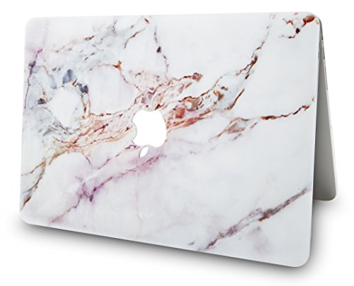 "KECC Laptop Case Compatible with MacBook Air 13"" w/Keyboard Cover Plastic Hard Shell + Webcam Cover A1466/A1369 3 in 1 Bundle (White Marble 4)"