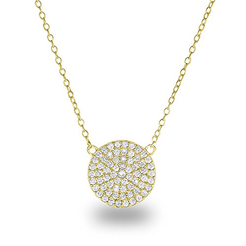 14k Yellow Gold Plated Sterling Silver Cubic Zirconia Pave Disc Circle Chain Necklace,18