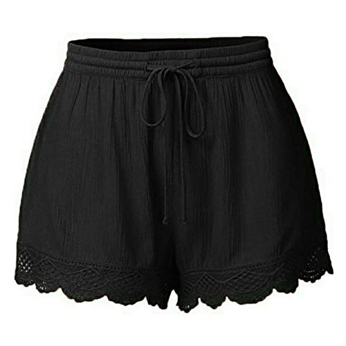 JOFOW Shorts for Women Casual Solid Ruffle Lace Cuff Loose High Waist A Line Comfy Mini Pants Drawstring Pajamas Trousers (M,Black -1) ()