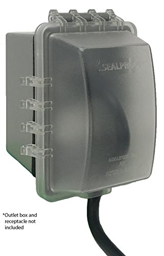 Sealproof 1-Gang Weatherproof In Use Electrical Power Outlet Cover, Single Gang Outdoor Plug and Receptacle Protector, Lockable, UL Extra Duty Compliant, 18-in1, Plastic Clear Frost