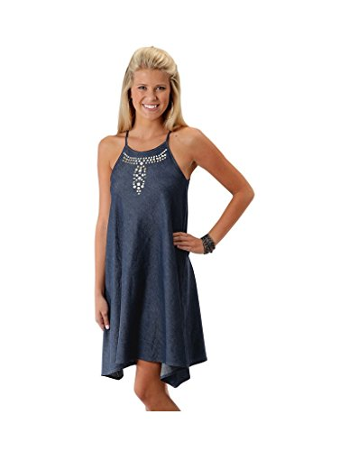 Roper Women's 0425 5 OZ Indigo Denim Sharkbite Dress Blue Dress LG