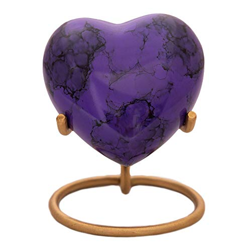 (Purple Heart Keepsake Urn - Mini Ash Urn with Free Premium Velvet Box & Display Stand - Small Handcrafted Cremation Urn for Ashes - A Lasting Tribute to Your Loved One - Perfect for Adults & Infants)