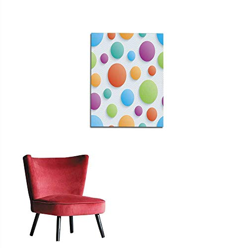 longbuyer Poster Wall Decor Colorful Circles Seamless Walpaper Mural 32