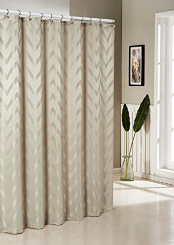 Pleated Fabric Shower Curtain (Woven Jacquard Fabric Shower Curtain With Chevron Pattern 70-inches by 72-Inches - Assorted Colors - Beige)