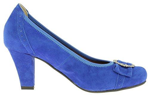 HIRSCHKOGEL Damen Pumps 3009226 Dirndlschuhe Trachtenschuhe Oktoberfest, Größe:38 EU, Farbe:Blau