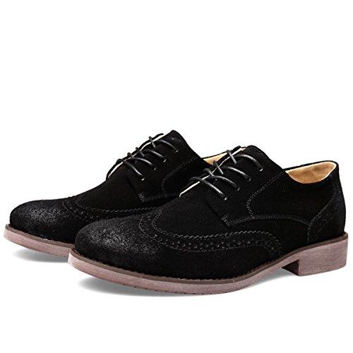 Minishion Heren Lace-up Mode Wingtip Oxfords Suede Business Dress Schoenen Zwart