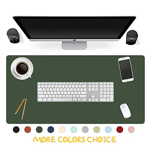 Office Desk Pad Large Leather Double Sided Mouse Pad Non-Slip Computer Desk Blotter Mat Waterproof Laptop Protector for Your Lovers (31.5