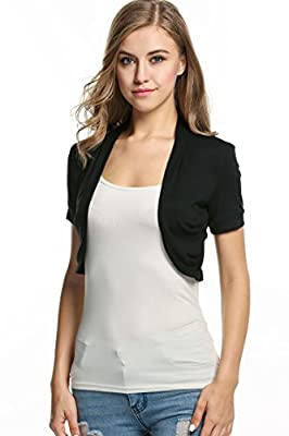 Meaneor Knitted Pleated Sides Cardigan Womens Jacket Crop Top Bolero Shrug