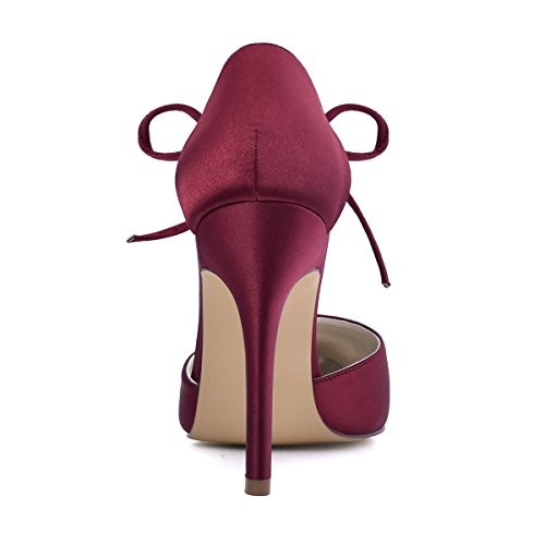 Heel up Toe Bow Pumps High Burgundy Pointed Satin ElegantPark Lace Women's D`orsay Dress YqUff