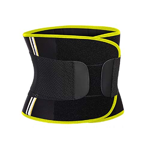 Hourglass Waist Trainer Trimmer Slimming Belt - Hot Neoprene Sauna Sweat Belly Band Body Shaper for Weight Loss Back Support (Yellow with Black, M (Waistline 29.5''-32.3''))
