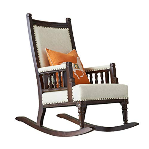 HYYTY-Y Vintage Country Home Rocking Chair, Solid Wood Leather Single Leisure Terrace Recliner