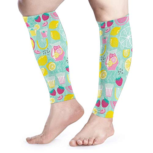 Calf Compression Sleeve for Men & Women, Premium Leg Compression Socks for Shin Splints and Varicose Veins, Elastic Footless Sleeve for Running, Cycling, Travel & Recovery, Lemonade