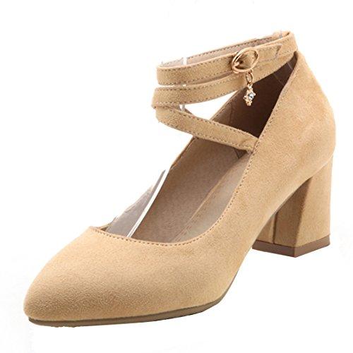 Knöchelriemchen Bequem Heel Aprikose 6cm Pumps mit Blockabsatz Damen Schuhe High Absatz AIYOUMEI Wildleder qRwOnfEvxH
