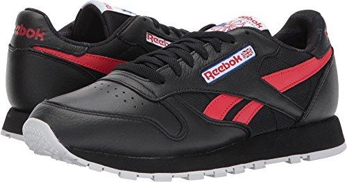 Reebok Mens Cl Leather So Fashion Sneaker Nero / Bianco / Grigio Chiaro Chiaro / Blu Vitale / Rosso Primitivo