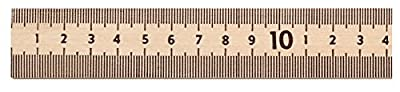 "School Smart 081901 Inches and Metric Plain End Wood Meter Stick, 1 m Length x 1"" Width x 1/4"" Thickness, Clear"