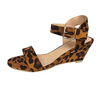 bf4db801356 Image Unavailable. Image not available for. Color  JJLIKER Women Leopard Peep  Toe Chunky Platform Wedges Sandals Ankle Buckle Strap Shoes ...