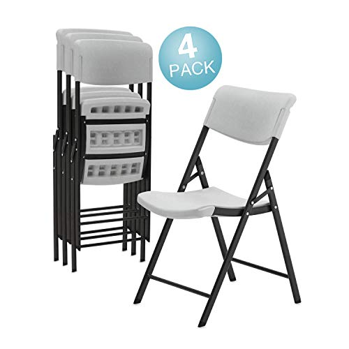 Pataku Plastic Folding Chair with Molded Seat Indoor Outdoor Portable Stackable Lightweight Classic Commercial Grade Chairs for Events, Parties - Gray,(Pack of 4 ()