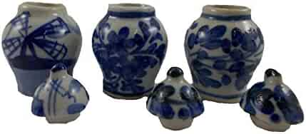 3 pc Lot Vintage Ceramic Antique Vase Chinese Miniatures Ceramic Furniture Dollhouse Jar Pot Lot Doll